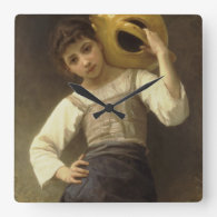 Young Girl Going to the Spring Square Wall Clocks