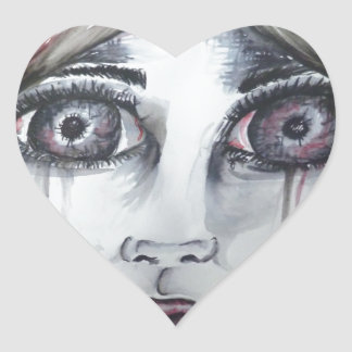 Young Girl Heart Sticker