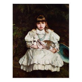 Young Girl Holding a Pet Rabbit postcard