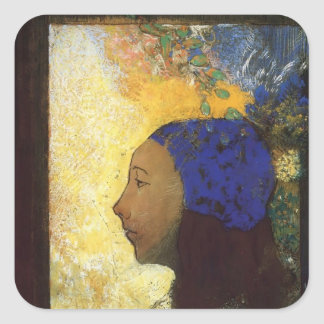 Young Girl in a Blue Bonnet by Odilon Redon Stickers