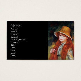 Young Girl in a Straw Hat by Renoir Business Card