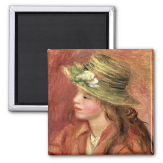 Young Girl in a Straw Hat, c.1908 Refrigerator Magnets
