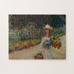 Young Girl in Garden at Giverny Monet Fine Art Puzzle