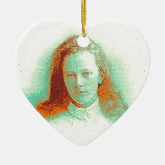 Young girl in high collared white blouse ceramic ornament