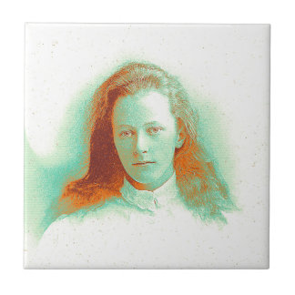 Young girl in high collared white blouse ceramic tile