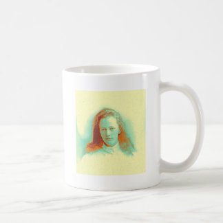 Young girl in high collared white blouse coffee mug