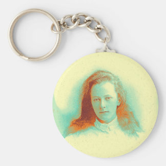 Young girl in high collared white blouse keychain