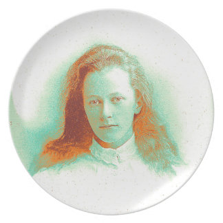 Young girl in high collared white blouse melamine plate