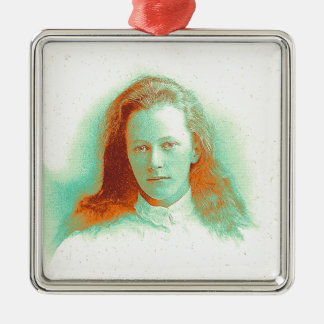 Young girl in high collared white blouse metal ornament