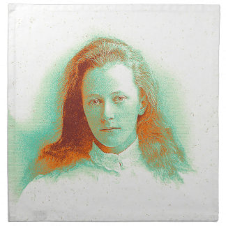 Young girl in high collared white blouse napkin
