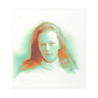 Young girl in high collared white blouse notepad