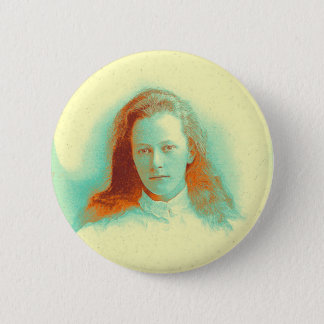 Young girl in high collared white blouse pinback button