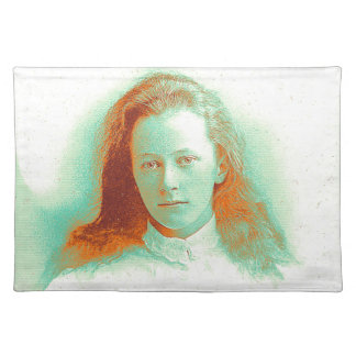 Young girl in high collared white blouse placemat