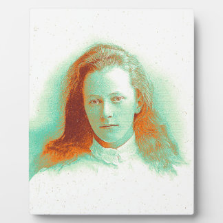 Young girl in high collared white blouse plaque