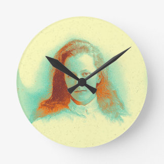 Young girl in high collared white blouse round clock
