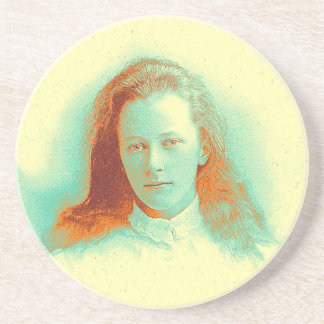 Young girl in high collared white blouse sandstone coaster