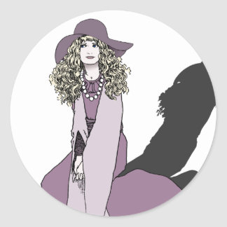Young Girl in Purple Classic Round Sticker