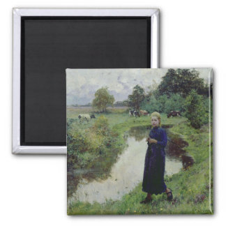 Young Girl in the Fields, 2 Inch Square Magnet
