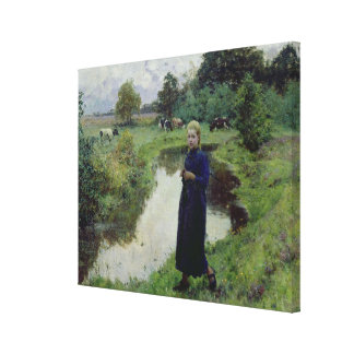 Young Girl in the Fields, Canvas Print