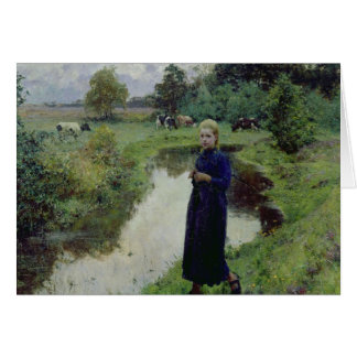 Young Girl in the Fields, Card