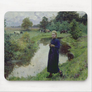 Young Girl in the Fields Mouse Pads