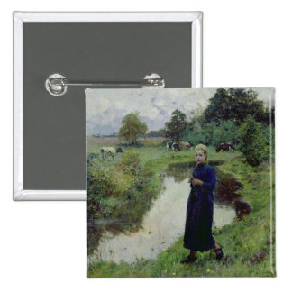 Young Girl in the Fields, Pinback Button