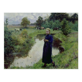 Young Girl in the Fields, Postcard