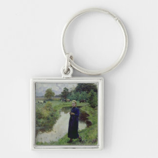 Young Girl in the Fields, Silver-Colored Square Keychain