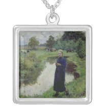 Young Girl in the Fields, Silver Plated Necklace