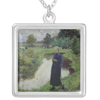 Young Girl in the Fields, Square Pendant Necklace