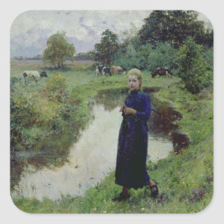 Young Girl in the Fields, Square Sticker