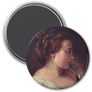 Young Girl Jeune fille by Francois Boucher 3 Inch Round Magnet