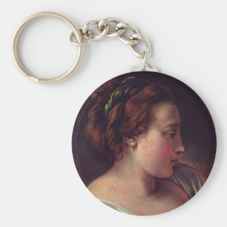 Young Girl Jeune fille by Francois Boucher Keychain