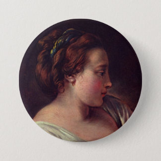 Young Girl Jeune fille by Francois Boucher Pinback Button