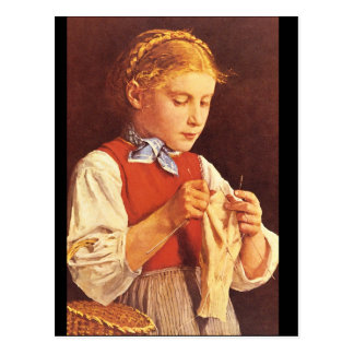 Young Girl Knitting',_Portraits Postcard