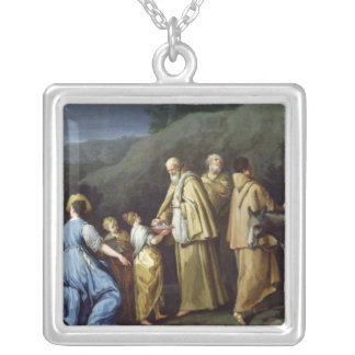 Young Girl Offering Eggs to a Group of Monks Square Pendant Necklace