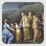 Young Girl Offering Eggs to a Group of Monks Square Sticker