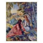 Young Girl On The Meadow By Pierre-Auguste Renoir Poster