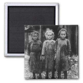 Young Girl Oyster Shuckers, early 1900s 2 Inch Square Magnet