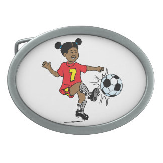 Young Girl Playing Soccer Belt Buckle