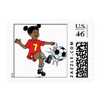 Young Girl Playing Soccer Stamps