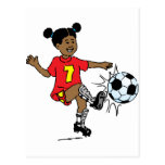 Young Girl Playing Soccer Postcards