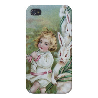 Young Girl Plays Flute for Admiring White Rabbits iPhone 4/4S Cover
