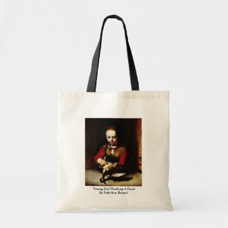 Young Girl Plucking A Duck By Fabritius Barent Tote Bag