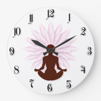 Young girl practicing yoga large clock