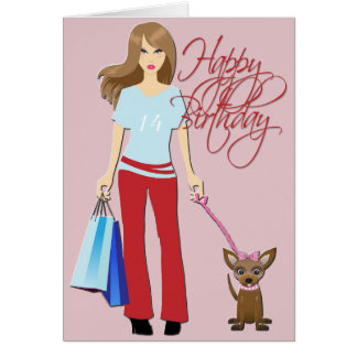 Young Girl & pup Happy Birthday Greeting Card
