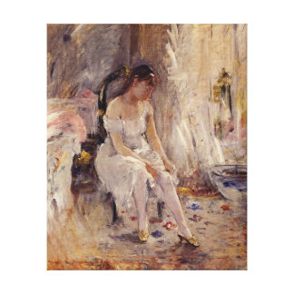 Young Girl Putting On Her Stockings - Canvas