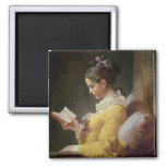 Young Girl Reading, c.1776 2 Inch Square Magnet