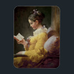 "Young Girl Reading, c.1776 Magnet<br><div class=""desc"">Image Collection Number:  XJL61308  Young Girl Reading,  c.1776 (oil on canvas). Fragonard,  Jean-Honore (1732-1806) oil on canvas. National Gallery of Art,  Washington DC,  USA .  18th</div>"