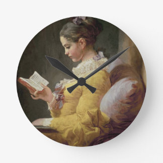 Young Girl Reading, c.1776 Round Clock